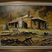 "Stan Johns Australian Artist ""Outback Shack"" 1978 oil/board (15"" x 20"" )"