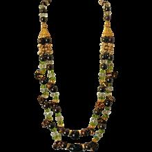 Australian Fairy Boulder Opal Necklace with Green Amethyst, Peridot, & Citrine