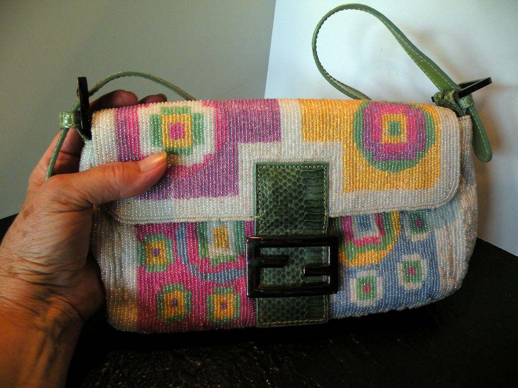 Authentic Full-Beaded Fendi Bag with Snake-skin Trim