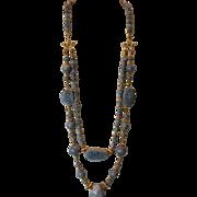 Natural Blue Coral & Vermeil Double Strand Necklace