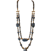 Natural Blue Coral & Vermeil Double Strand Necklace
