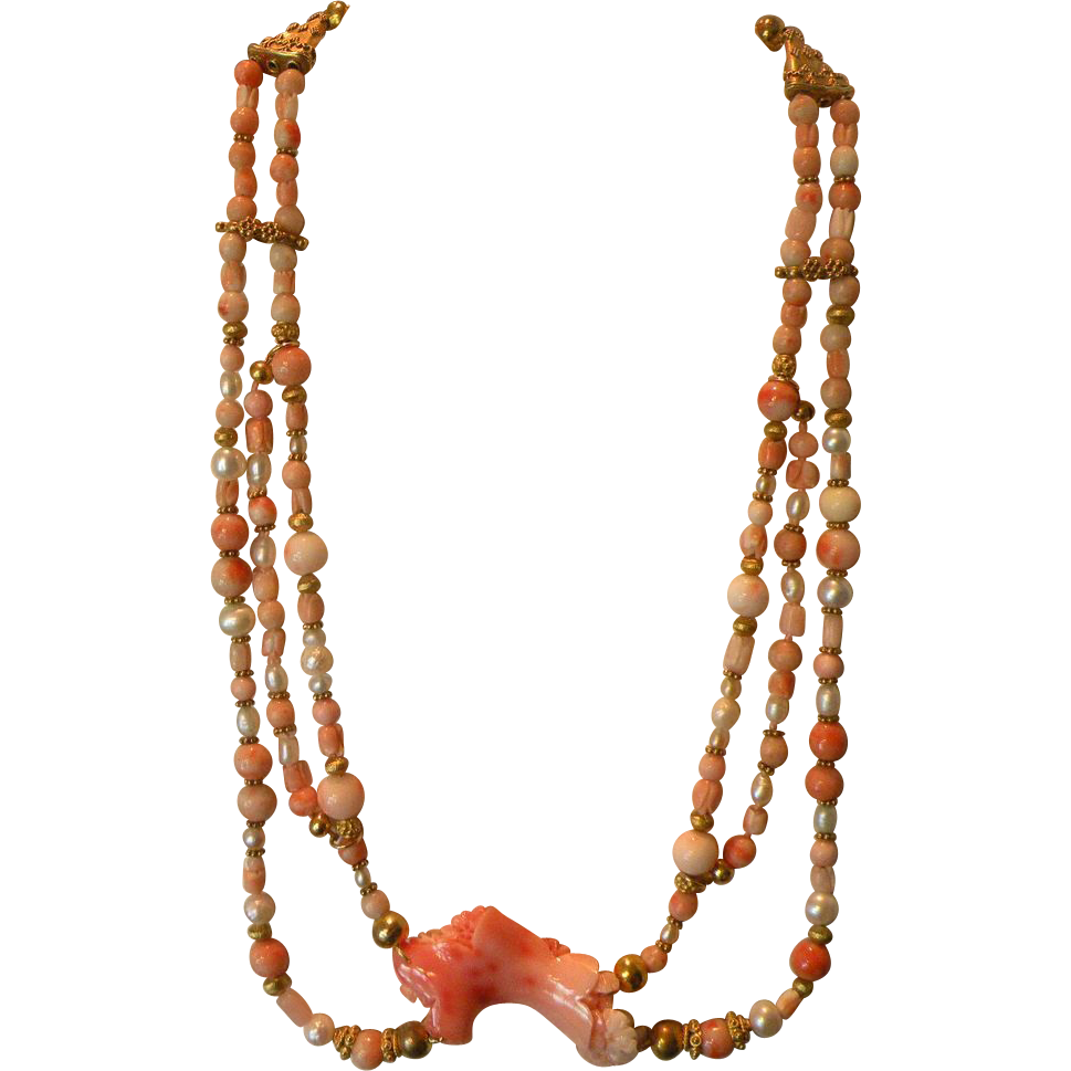 Handmade Angel Skin Coral Necklace with Cultured Pearls & Vermeil 19 inches 80 grams