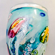 Australian Art Glass Large and Heavy Reef Incalmo Vase by Artist-Glassblower Chris Pantano