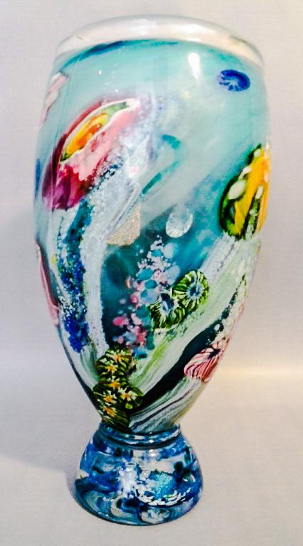 Australian Art Glass Large and Heavy Reef Incalmo Vase by Artist-Glassblower Chris Pantano