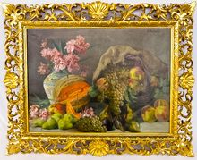 Lucinio Bazanti Italian Master Artist Magnificent Fruit Still Life Oil on Canvas