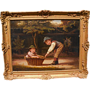 Justus Hill (British,died 1898) Charming Genre Oil on Canvas of Two Siblings Playing