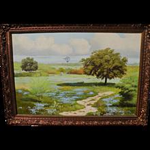 Texas Artist Manuel Garza Large oil on canvas, Bluebonnets with Windmill, 1971