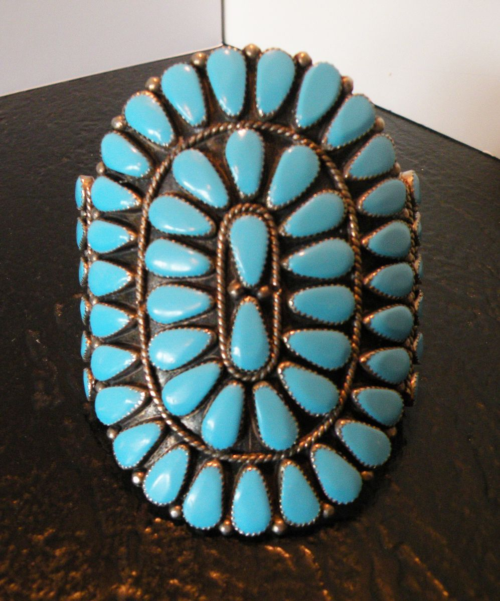 Zuni Giant Petty Point Vintage Turquoise Bracelet by Premier Artist Sadie Blue Eyes