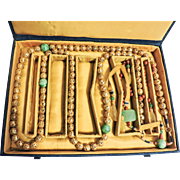 Chinese COURT NECKLACE – Gilt/gold beads & Jade Beads, 68 inch Chaozhu in Fitted Box