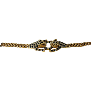 Leopard (Panther) 14K Gold, Sapphire & Diamond Ring and Bracelet Set, with Appraisal