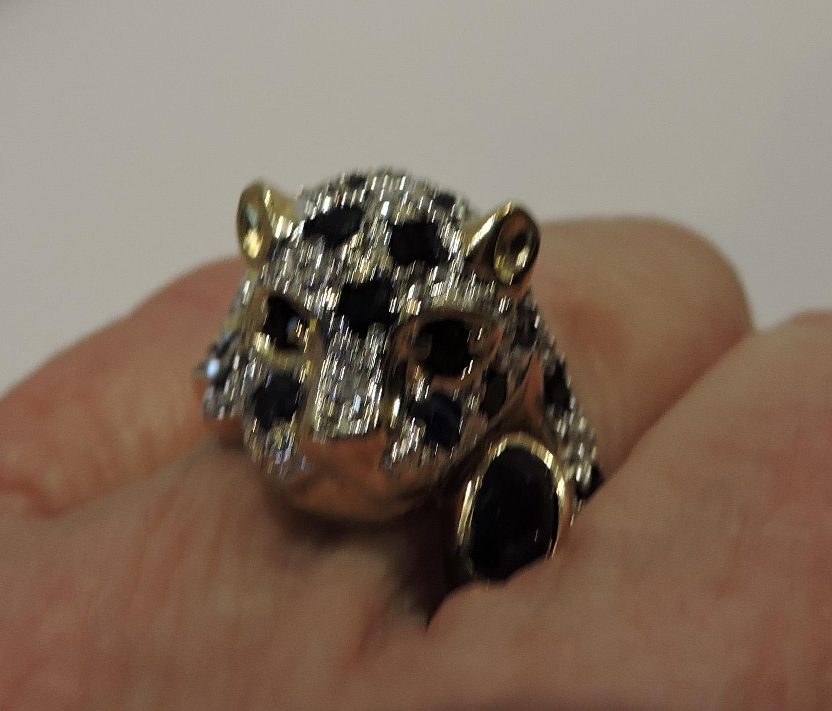 Leopard Panther 14k Gold Sapphire Amp Diamond Ring And