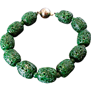 Jade Jadeite Vintage Chinese 14K Bracelet with Pierced Hollow Green Jade Beads
