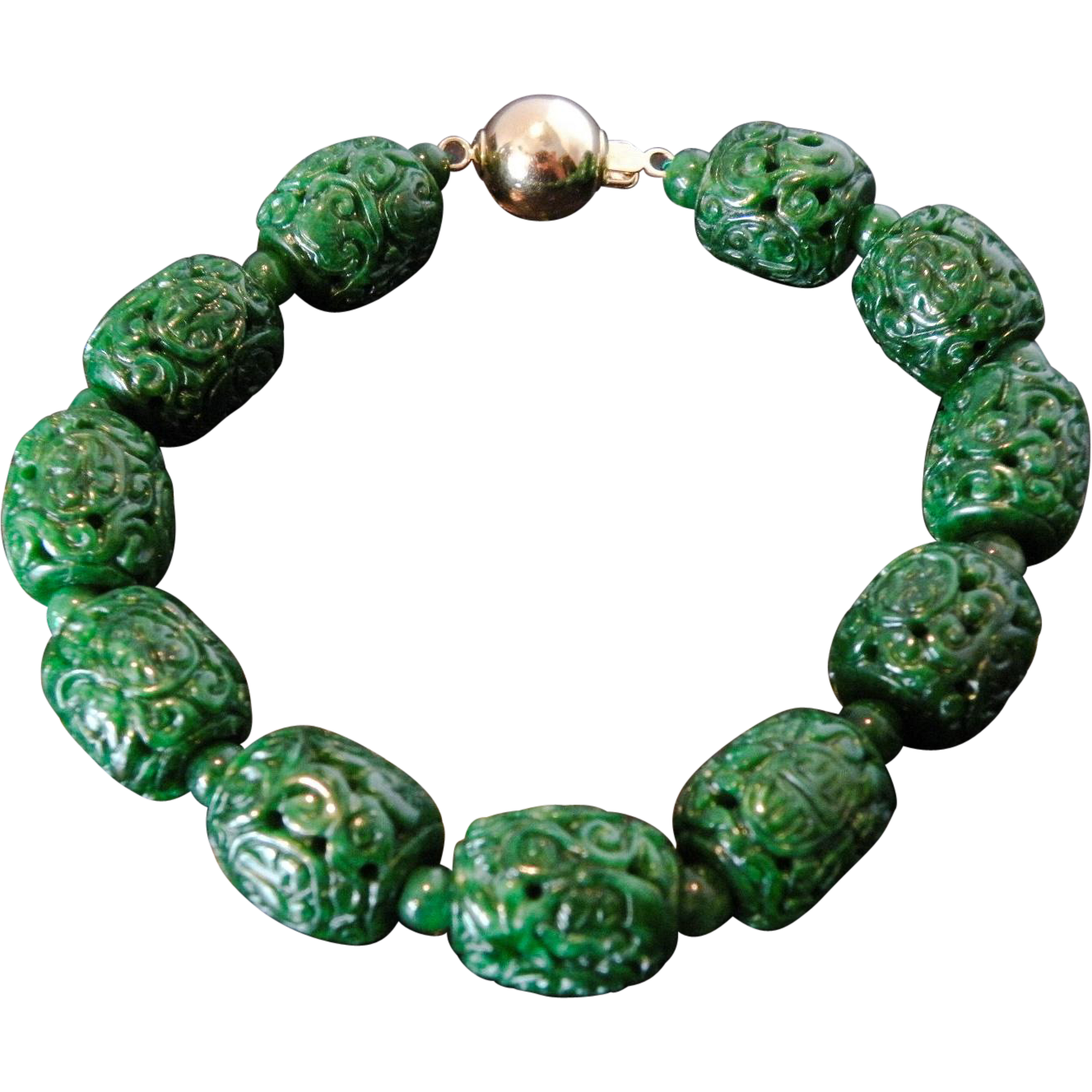 Jade Jadeite Vintage Chinese 14K Bracelet with Pierced Hollow Green Jade Beads
