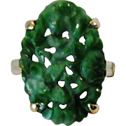 Jadeite Vintage Chinese 14K Gold Ring with Pierced Green Jade Cabochon, Size 7