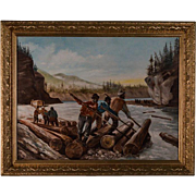 Painting of AFRICAN AMERICAN LUMBERJACKS - Log Rolling by C. Deacon, oil on board