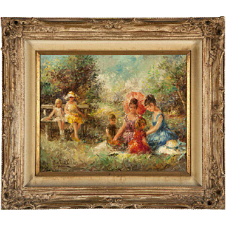 Eva Makk impressionistic oil on canvas of 6 youths enjoying a summer outing