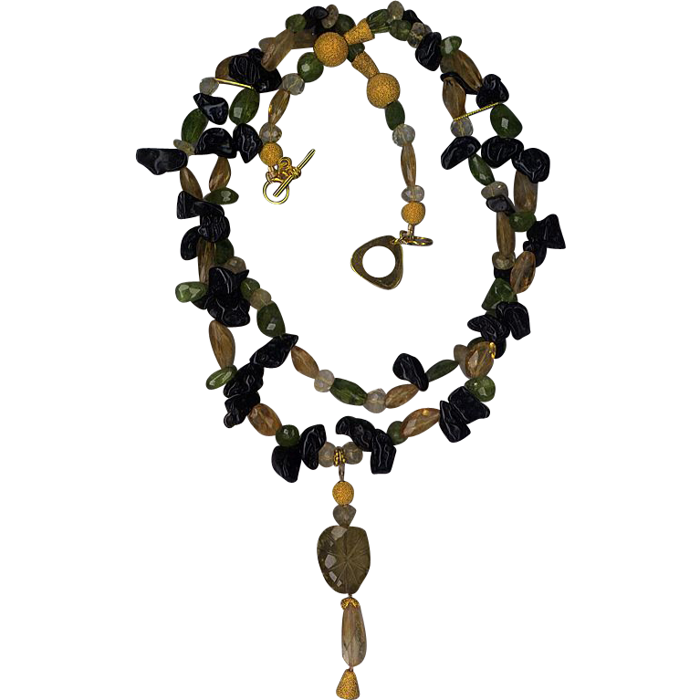 Tektite Meteorite beads  Peridot Citrine : Out of This World