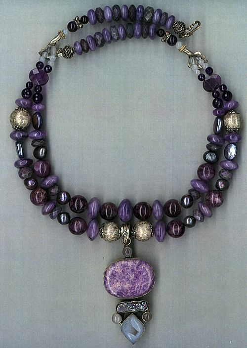 Russian Chariote & Sugulite  beads Chalcedony Druzy : Phoinis (Greek for Purple)