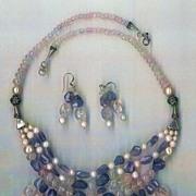 Imperial Morganite beads Tanzanite beads : Princess Morganite - with Cultured Pearls - with Earrings