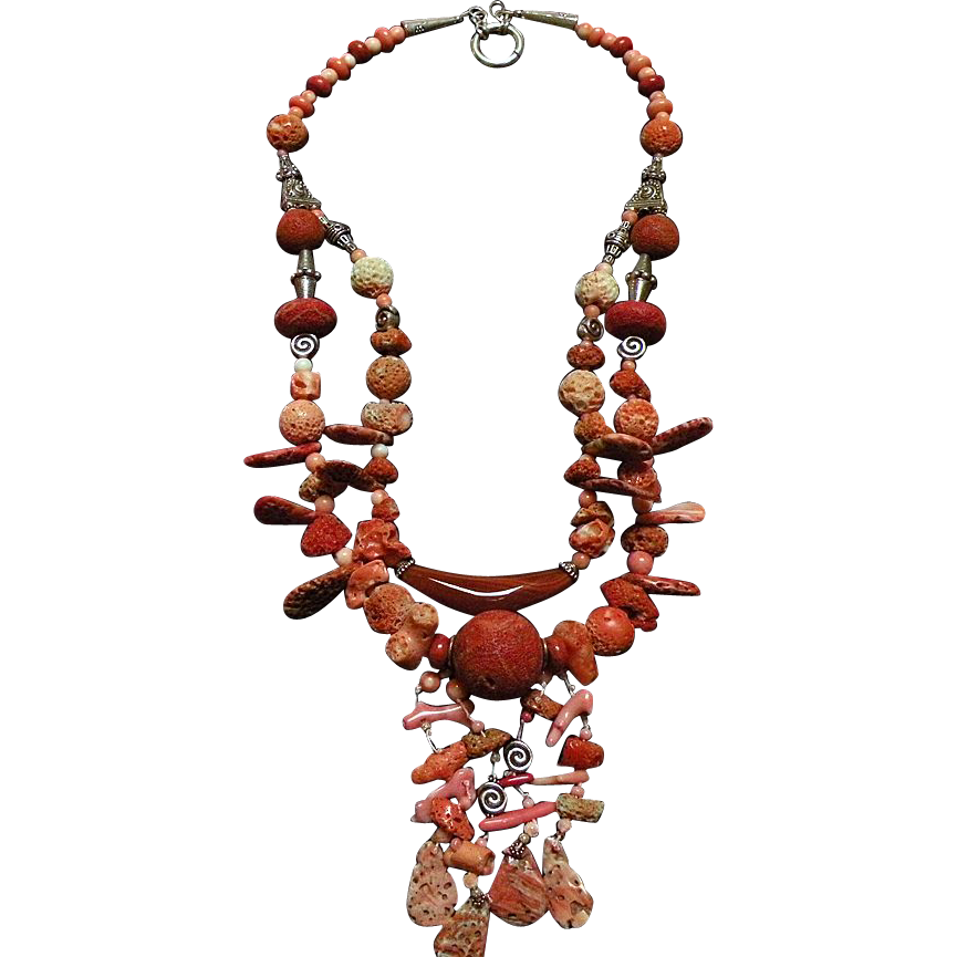 Spiny Oyster Shell beads & Coral : Rough and Regal