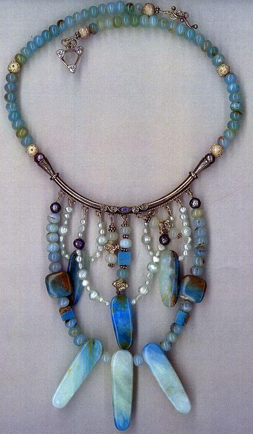 Peruvian Opals &  Druzy Pearls : Sky High Blue Bib