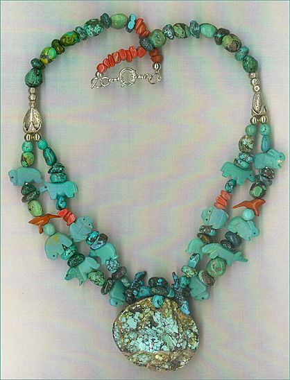 Carved Turquoise Pendant & Turquoise Fetish beads : Squirrel Mountain