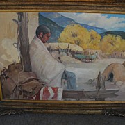 """Siesta"" - Original Oil/Board Painting - by important New Mexico artist James Butler"