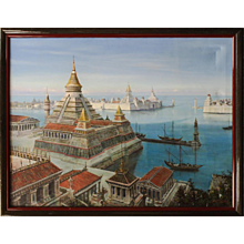 SYD DUTTON, Hollywood Emmy winning artist oil painting of a fantasy PYRAMID City