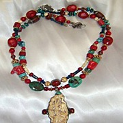 Red Coral & turquoise & Lapis beads : Tibetan Frog & Lotus (Festival)