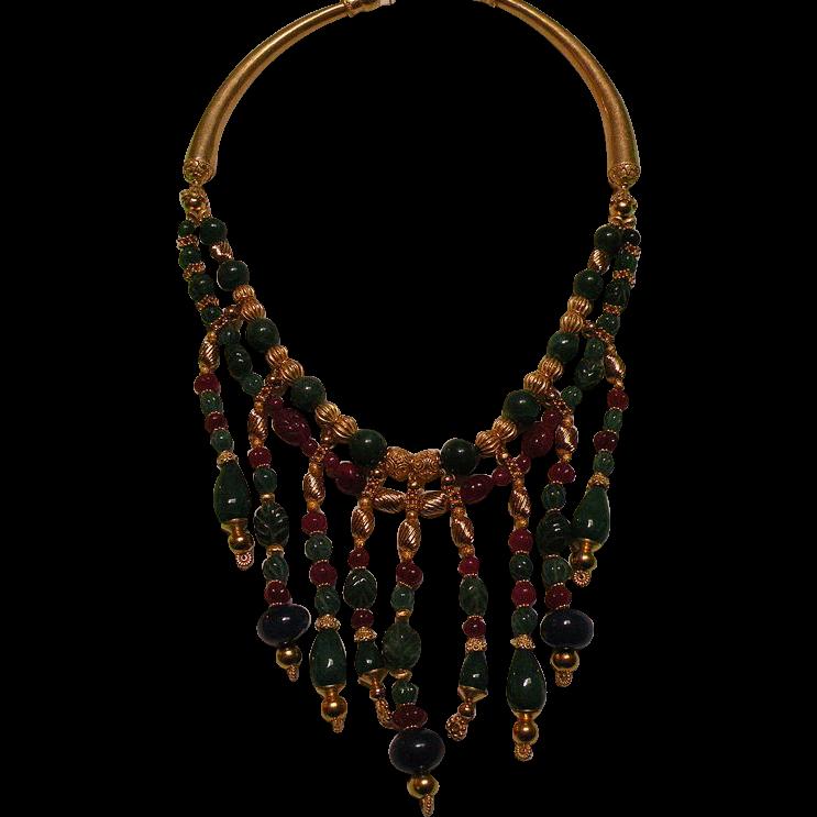 Ruby Emerald Sapphire beads : Nefertiti