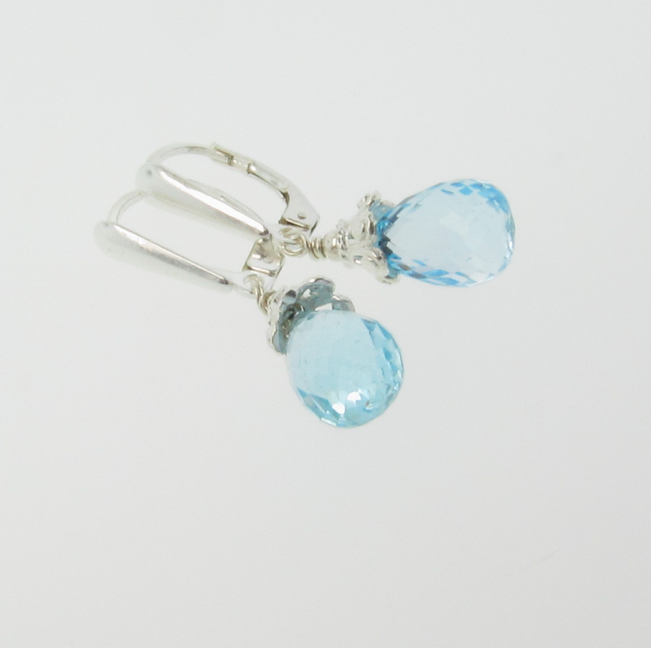 Blue Diamonds - AAA Flawless Sky Blue Topaz with Sterling Silver Accents - Drop Earrings