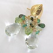 Feuilles d'or - 11 Carats Prasiolite, Emeralds, Prehnite, Peridot, Tourmaline, Vermeil Leaf Post Earrings