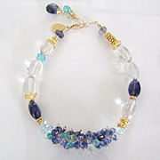 As Time Goes By - Faceted Prasiolite, Tanzanite, Iolite, Apatite, Topaz, Aquamarine, 14K Gold Filled Bracelet edit