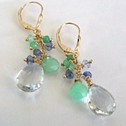 Cool And Sassy - Faceted Prasiolite, Iolite, Chrysoprase 14K Gold Filled Earrings