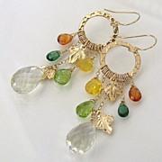 Autumn Leaves - 14.50 Carat Lemon Topaz, Mandarin Garnet, Green Apatite, Peridot, Yellow Opal 14K Gold Filled Earrings