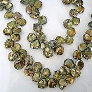 Keishi Petal Pearls - Large Peacock Green Pearls - 20 Inch Strand