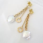Cara Mia - Earrings - Coin Pearl, 14K Gold Filled, Vermeil, Post Dangles