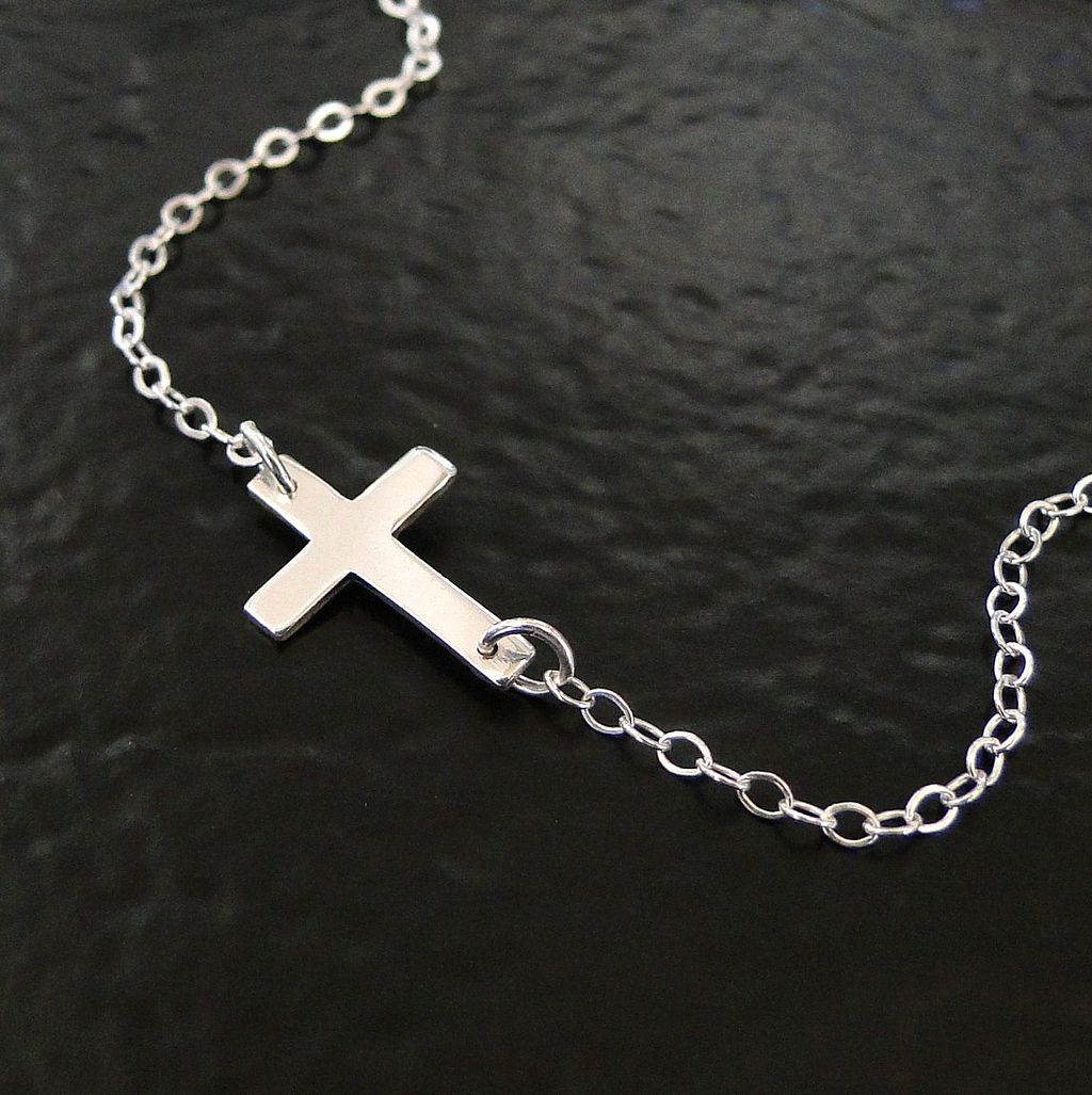 Sideways Cross Necklace - Small Horizontal Sterling Silver Cross - Celebrity Style