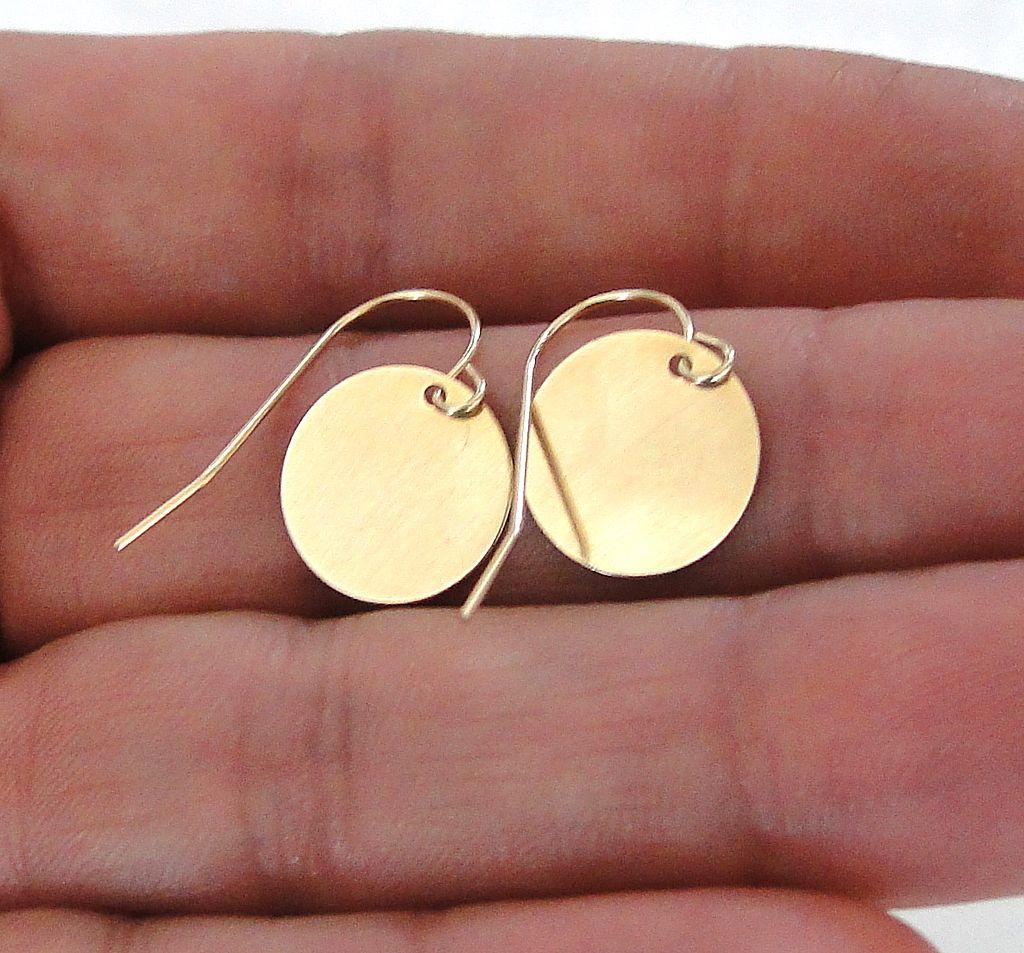14K SOLID GOLD - Tiny Baubles - Simple, Small 14K Gold Shiny Disc Circle Drop Earrings