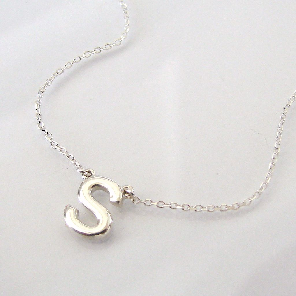Dainty Initial Necklace - Ultra Feminine, Sterling Silver 'Your' Initial Monogram Necklace
