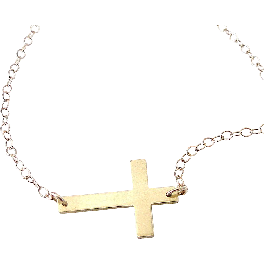 14K SOLID GOLD Small Sideways Cross Necklace - 14K Yellow or White Gold Horizontal Cross - Handcrafted by Theresa Mink