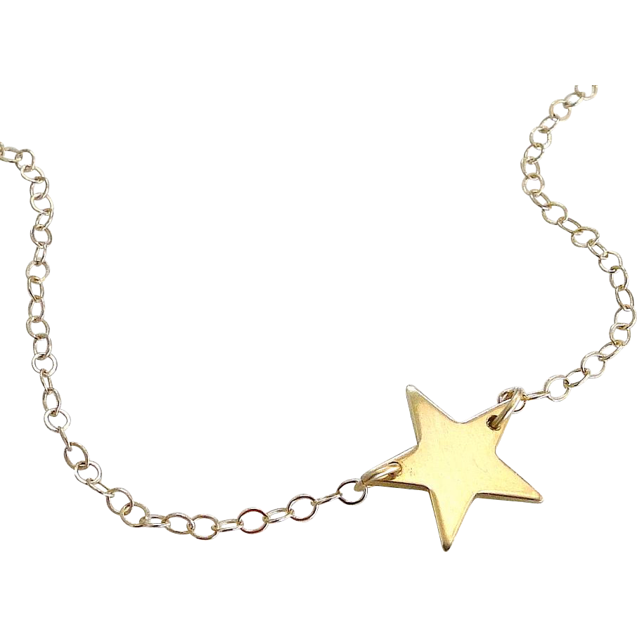 SOLID Gold Star Necklace, 14K Yellow Gold