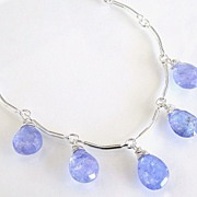 Simply Blue - Tanzanite Necklace, Very Sparkly, Faceted Pear Shaped Tanzanite Dangles on Sterling Silver Curved Bar Chain