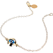 Lucky Evil Eye Bracelet - Gold Filled, Celebrity Style Jewelry