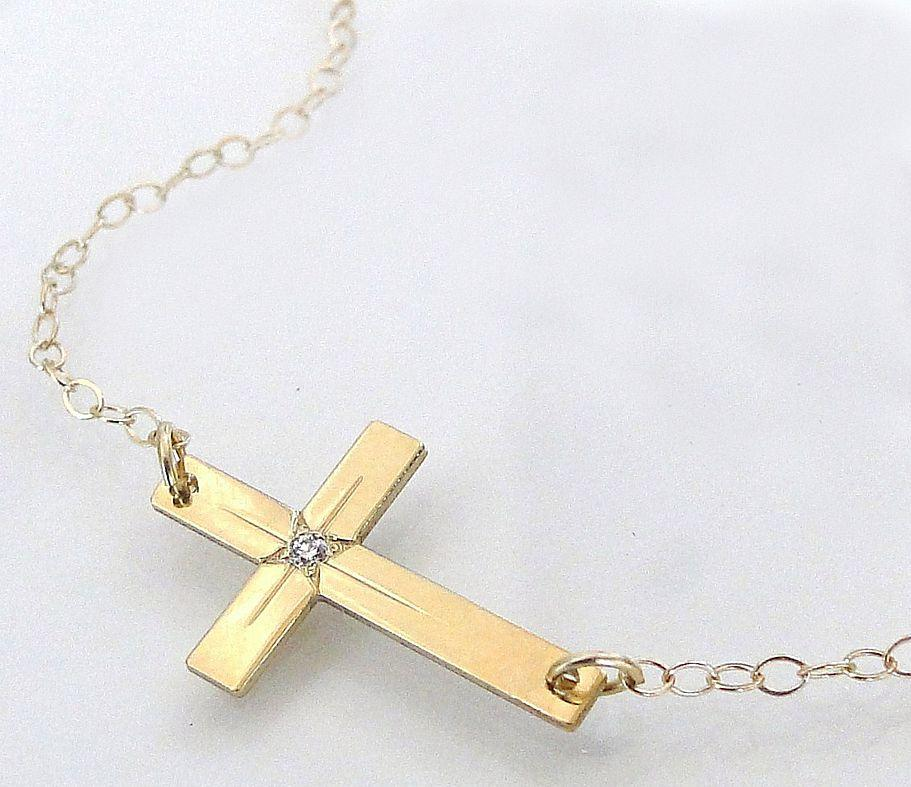 14K Gold And Diamond Sideways Cross Necklace - 14K Yellow Gold Horizontal Cross - As Seen On Taylor Jacobson