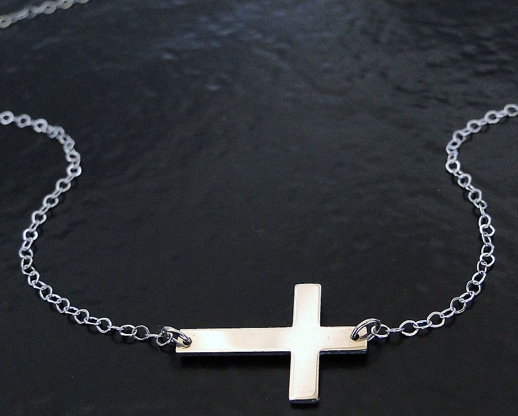 14K SOLID Gold Small Sideways Cross Necklace - White Gold, Handcrafted by Theresa Mink