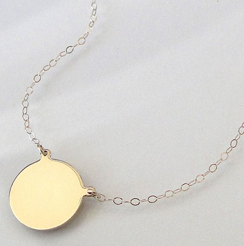 14k gold disc necklace yellow gold or white gold can