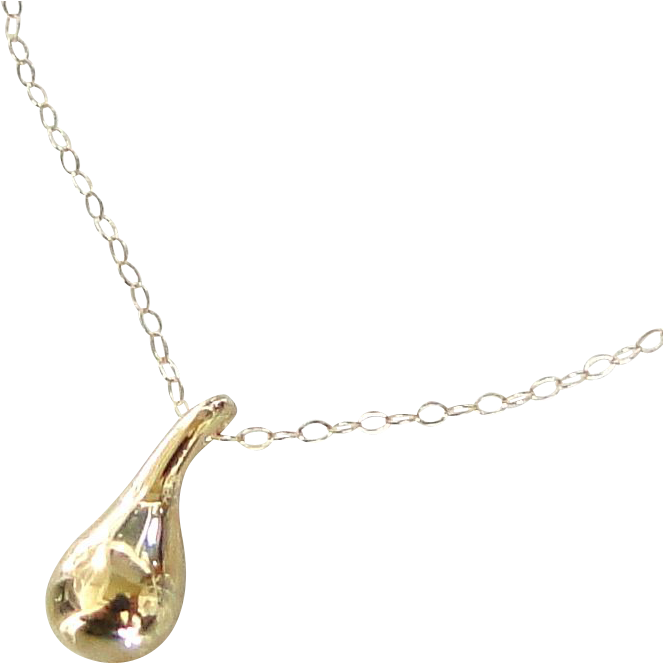 14K Gold Teardrop Necklace - Simple, Dainty and Classic