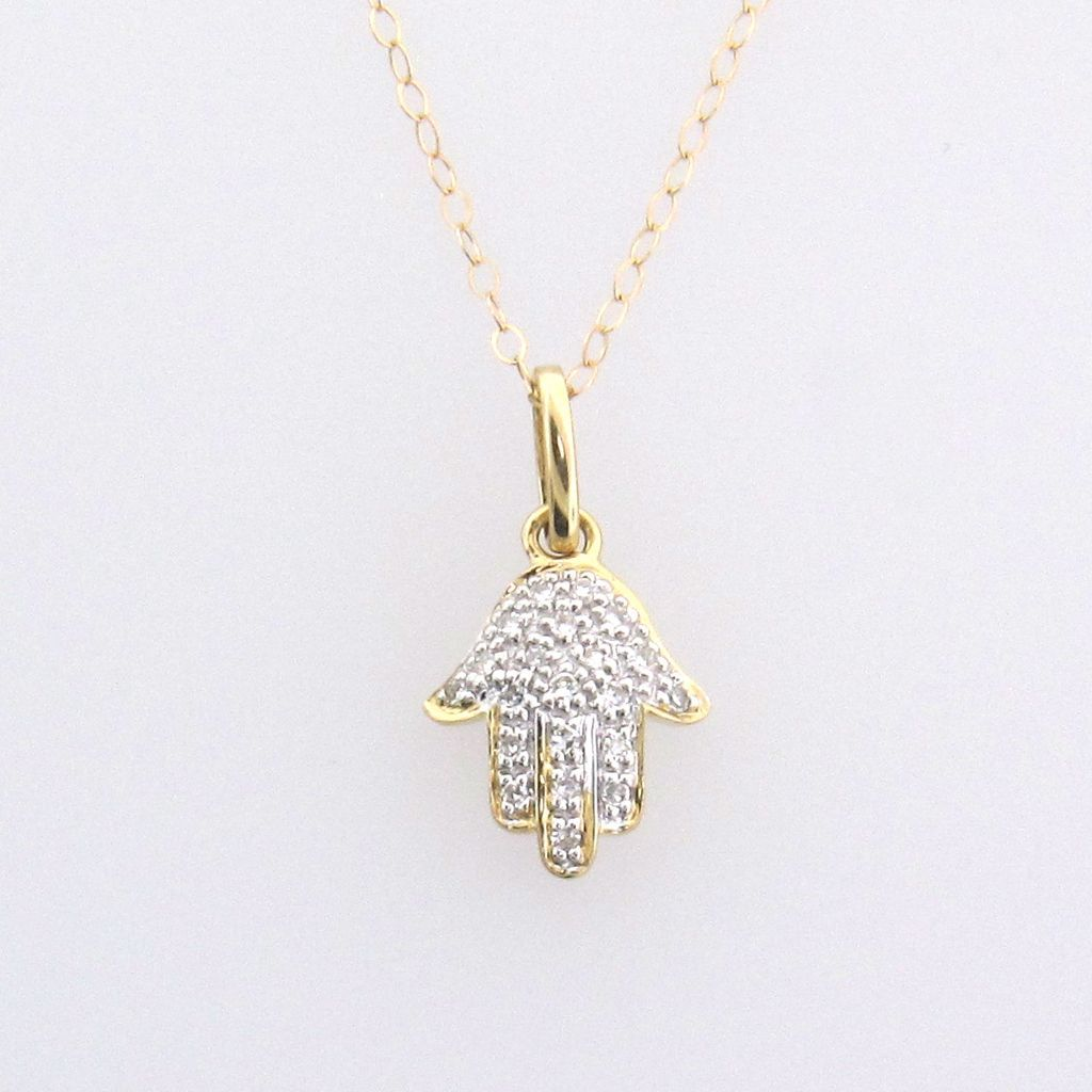 14k Solid Gold And Diamond Hamsa Hand Necklace For