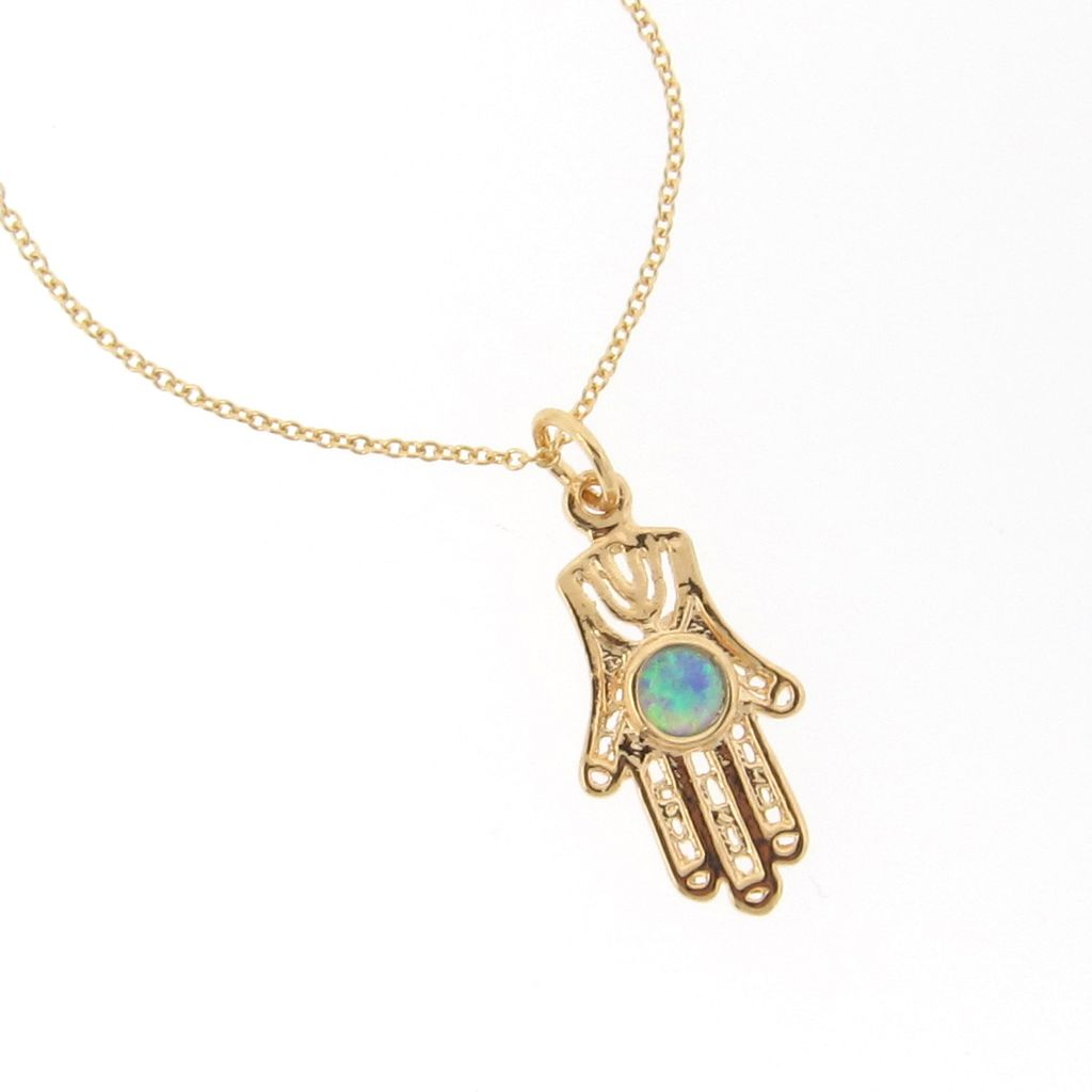 """14k Gold Filled Hamsa Hand Necklace With Opal - 16"""""""